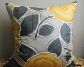 yellow modern floral pillow