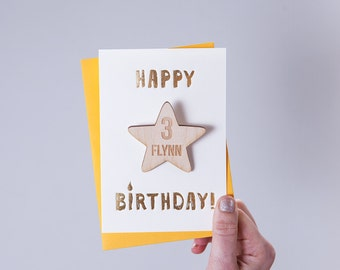Personalised Star Birthday Badge Card - Birthday Card - Personalised Badge - Birthday Age Badge - Birthday Keepsake - Blank Card -