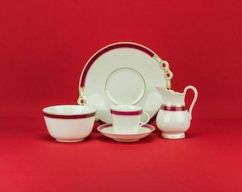 6 Person 19th Century China Plate Creamer Saucer Bowl TEA SET Coffee Victorian LS