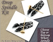 Drop Spindle Kit - Top or Bottom Whorl Spindle - 2oz of Roving - Spinning - Link to Video Tutorial included - Learn to Spin - Sparkle