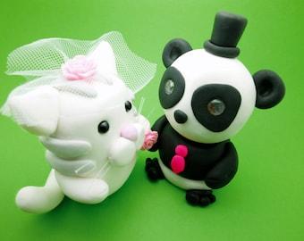 Panda+Cat wedding cake toppers