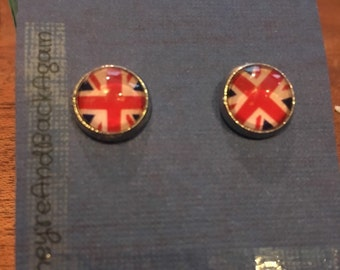 10mm Round Glass Union Jack Stud Earrings