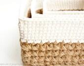 Square Stacking Baskets Set - JaKiGu PDF Crochet Pattern 303 - Jute and Cotton Nesting Baskets DIY Instructions