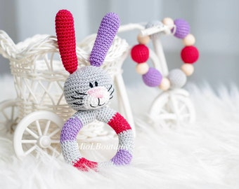Baby rattle Crochet baby toy SET of 2 Teething baby toy Grasping Toys Bunny Stuffed toys Gift for baby Boys Baby shower gift
