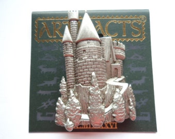 Vintage Signed JJ  Silver pewter Fairytale Castle Brooch/Pin