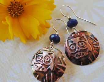 Owl copper earrings with blue beads, metal earrings, rustic earrings, artisan earrings