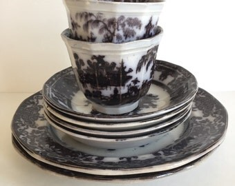 """Antique Set of Chinoiserie Podmore Walker & Co. """"Corean"""" Pearl Stoneware Plates and Cups"""