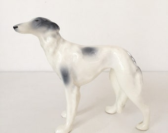 Vintage Ceramic Greyhound/Whippet Made in Brazil, Mid Century Hollywood Regency