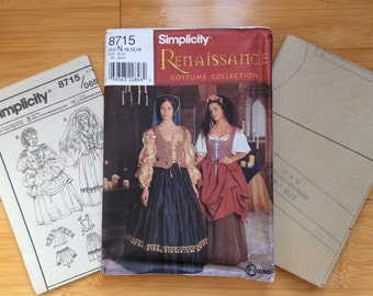 Uncut Simplicity Pattern 8715 Size 10, 12, 14 Renaissance Costume Collection
