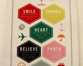 Sentiment Series 8  6 sided stamps  smile embrace heart believe photo cherish sweet always  New Clear Unmounted Stamps FREE US SHIPPING
