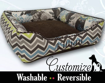 Brown Dog Bed with Blue Green Accent  | Chevron, Sherpa, Owls, Personalized | Choose Your Design