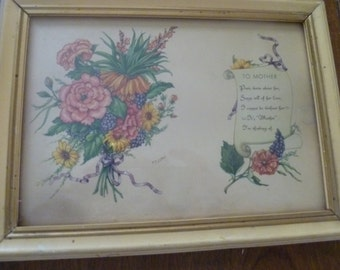 """Very Pretty Framed """"To Mother"""" Poem"""