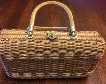 60's Walborg Rectangular Top handle Vinyl Weaved Handbag Beige Wicker Color - Walborg / Vinyl Basket Weave- Picnic Basket Handbag