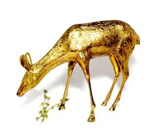 Large Brass Deer Figurine,  Doe, Fawn, Brass Deer Grazing, Large Brass Deer Display, Woodland Decor