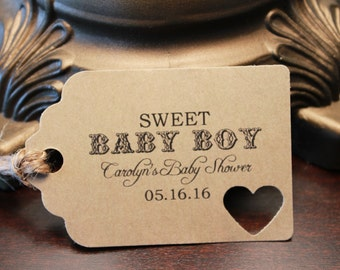 10 Pre-Strung and Custom Baby Shower Thank You Favor Tags (Sweet Baby Boy or Girl)