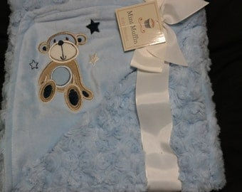 Super Plush Baby Blanket with Custom Embroidery Name/Birthdate & Applique Monkey design