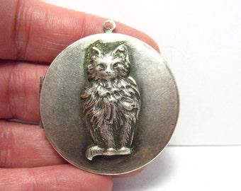 Large Sterling Silver Round Locket Pendant Raised Cat 35 mm  14.4 grams