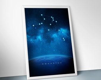 "Aquarius : digital art, horoscope, zodiac, space, astrology, stars, constellations, poster print, 24"" X 36"", 16"" X 24"", 12"" X 18"", 8"" X 12"""