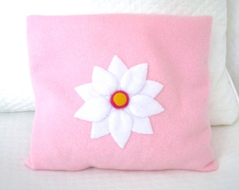 FREE SHIPPING Microwave Heating Pad Cherry Stone Filled Fleece Pillowcase with Flower Appliqué