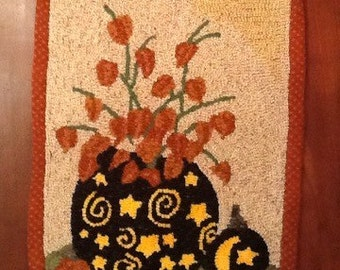 Pumpkins and Japanese Lanterns Rug Hooking Pattern