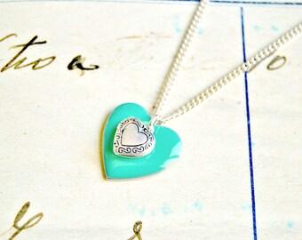 Mint green enameled heart necklace, heart necklace, love necklace, locket necklace, mint necklace