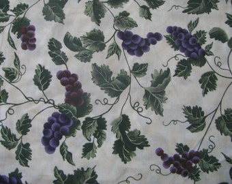 Grape Vines Fabric Remnant 2 1/4 YDS Cont. Cotton Italian Green Purple Natural Tuscan Vineyard Medium Weight Cotton Leaves Greenery