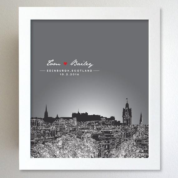 Personalised Wedding Gifts Edinburgh : Personalized Anniversary Gift Edinburgh Scotland City Skyline 8x10 ...