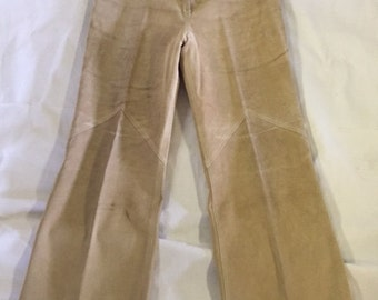 Vintage High-Waisted Suede Long Pants
