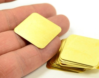 100 Pcs. Raw Brass 27.5x27.5 x0.40 mm Square Stamping Blanks Findings