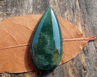 Green Forest,Moss Agate Cabochon,Tear Drop ,Semiprecious stone, Jewelry making Supplies,Big ,44x22mm