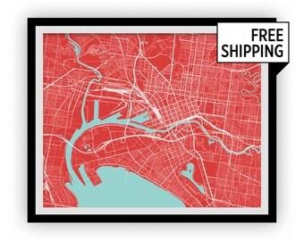 Melbourne Map Print - Choose your color