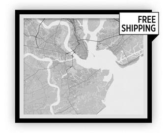 Charleston Map Print - Choose your color