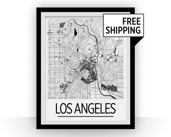 Los Angeles Map Poster Usa Map Print Art Deco Series