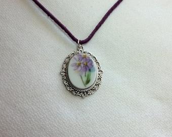 Peaceful Purple - Broken China Necklace