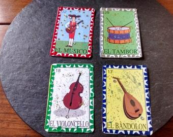 Choose original mixed media art Halloween musician drummer mariachi guitar loteria cards Day of the Dead dia de muertos nicho ofrenda supply