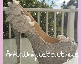 Sparkle bridal  shoes,wedding  unique  shoes
