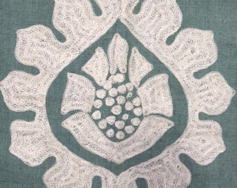 Green and White Embroidered Fabric Remnant
