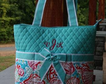 Personalized Aqua Diaper Bag Seashells
