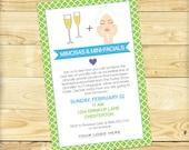 Mimosas and Mini-facials Event Invite, Green and Blue - DIGITAL FILE