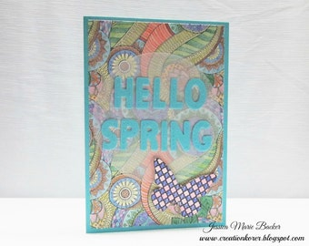 Hello Spring - Spring Card - Friendship Card - Encouragement Card - Floral Paisley Print - Butterfly