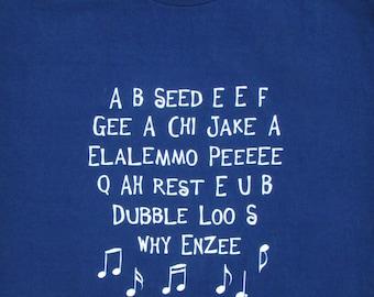 SALE - ABC - Funny Alphabet Song Mens Navy Blue Graphic T-shirt // Preschool Teacher // Kindergarten // Kids Song