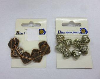 Blue Moon Beads - 10 Copper Diamond Beads - Plus - 10 Silver Ornate Heart Beads