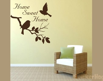 Autumn Wall Quote Home Sweet Home Birds and Branches Vinyl Wall Decal #3 Graphics Home Decor