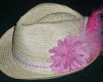 Easter Fedora With Pink Flower And Pink Feather - Little Girls Easter Fedora Hat - Childs Easter Hats - Easter Hats For Three Years And Up