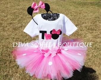 Pink Number Minnie Mouse Tutu Set   Birthday Set
