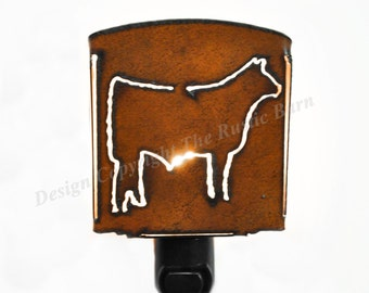 STEER cow nightlight night light made of Rustic Rusty Rusted Recycled Metal