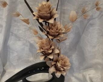 Comma Vase, Modern Vases, High Shine Vase, Silk Flowers, Home Decor, Office Decor, Flower Arrangements, Black vases,  ceramic vases