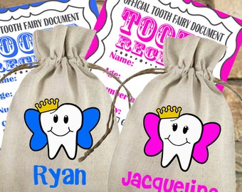 Personalized Linen Tooth Fairy Bag