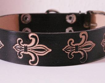 "Black leather dog collar ""Fleur de Lis"", handmade"