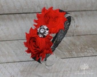 Red and Black Christmas Headband - Red and Black Headband - Valentines Day Headband - Baby Headband - Adult Headband - Black Lace Headband